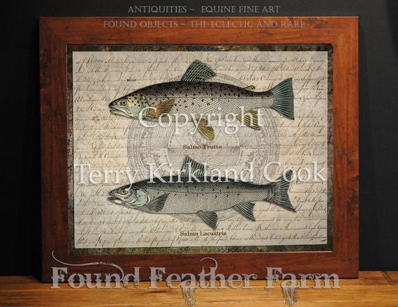 """Two Trout ~ Original Vintage Art Collage 20"""" x 24""""Framed Giclee Print"""