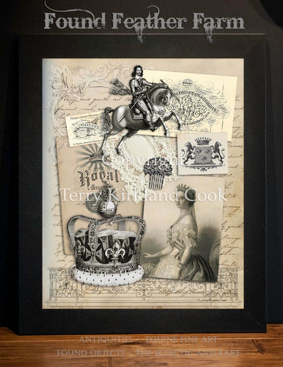 "Of Kings and Queens ~ Original Vintage Art Collage 20"" x 24""Framed Giclee Print"