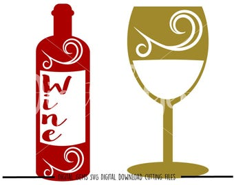 Wine bottle and glass svg / dxf / eps / png files. Digital download. Small commercial use ok.