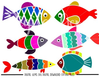 Fish svg / dxf / eps / png files. The files work well with Silhouette and Cricut. Digital download. Small commercial use ok.