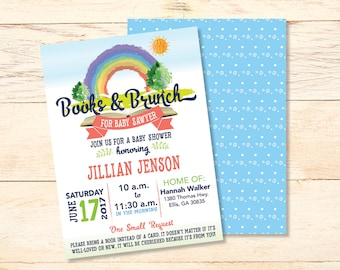 Book U0026 Brunch BABY SHOWER Invitations, BABY Shower Invitations, Baby Book  Invitations, Baby