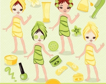 80% OFF SALE Spa girl digital clipart, girl party clipart, spa girl clipart, spa clipart, girls spa party for commercial use - CA126