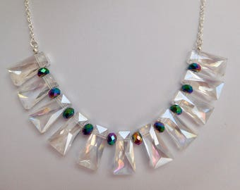 Crystal Necklace, Clear Crystal Trapezoid Necklace, Purple Green Blue Rondelle Crystal Necklace, Silver Chain Necklace, Gift For Her
