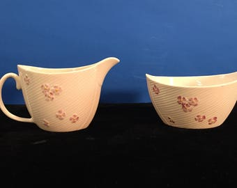 "Vintage Irish Belleek ""Irish Flag"" Sugar and Creamer"