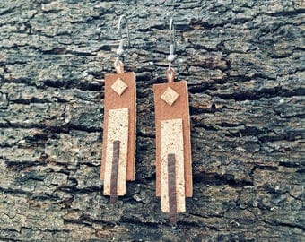 Cork Leather Rectangular Match Earrings-jewelry collection Tribal geometries