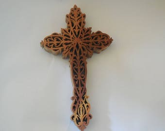 canary wooden wall cross 7x4..75