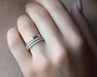 silver wedding band women wedding band silver wedding ring white stone ring - Woman Wedding Rings