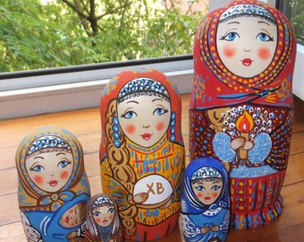 Russian matryoshka doll nesting babushka beauty girl easter handmade exclusive