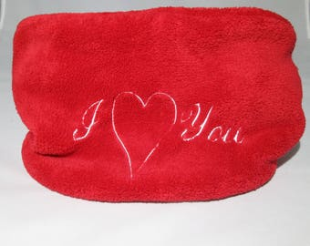 "Gifts Valentine's day, SNOOD red embroidered ""I Love you"""