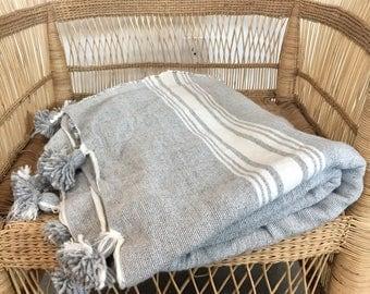 Pom Pom Blanket grey / white stripe, Morocco