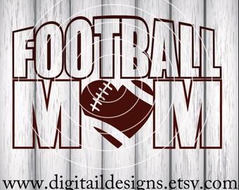 Football Mom Word Art SVG - PNG - DXF - Eps - Fcm - Ai - Cut file - Football Heart Svg - Football Mom Cut File - Football Mom Design