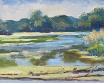 River Oil Painting, Water Landscape, Illinois Oil Painting, Plein Air Oil, Original Small Oil Painting by Sue Whitney, Oil on Linen on Board
