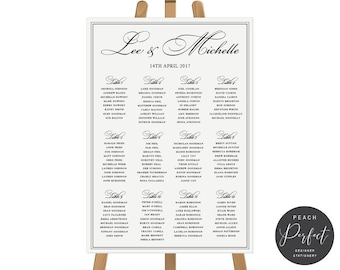 Black and White Wedding Seating Chart, Free Colour Changes, Calligraphy, DIY Printable Seating Plan Printed, Peach Perfect Australia