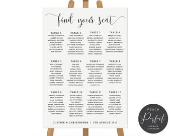 Wedding Seating Chart, Modern Calligraphy, DIY Printable Guest Seating Plan or Professionally Printed, Peach Perfect Australia