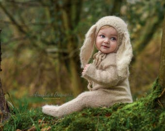 Sitter props,Photo props, Photography props ,Bunny outfit,Bunny hat,Sitter romper,Mohair outfit,Footed romper,Knit baby hat,Knited romper