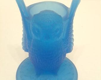 Vintage Westmoreland Glass Owl Toothpick Blue Satin