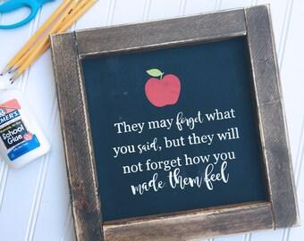 Motivational Teacher Quote Framed Wood Sign