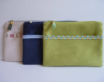 Suede zippered pouch with 2 pockets/printed cotton fabric/accessory bag/tassel