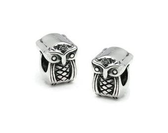 Silver ring 925 Silver large hole OWL AC0307 PK0204