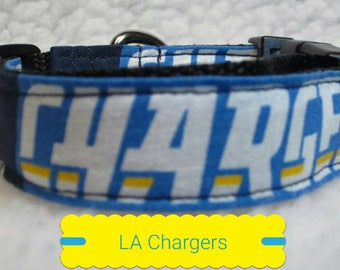 """Los Angeles Chargers Dog Collar, Dog Collars, Large Dog Collar, Small Dog Collar, Side Release Dog Collar, 1"""" & 1.5"""" Inches Wide, Dog Collar"""
