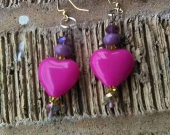 Two of hearts mixed metal earrings