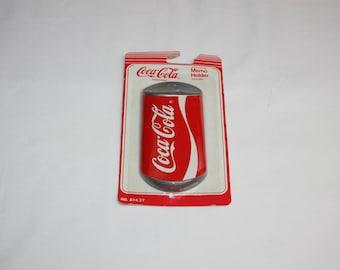 Vintage Coca-Cola Can Magnetic Memo Holder Coca Cola Magnet Coke Refrigerator Magnet 1991