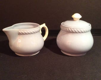 Homer Laughlin Kraft Blue Sugar and Creamer