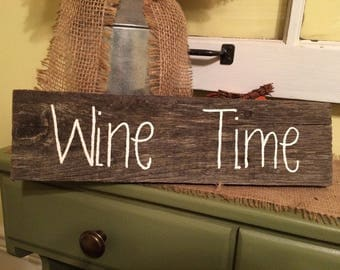 Small Distressed Wine Time Sign