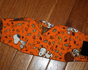 Belly Band, Male Dog Diaper, NEW DESIGN quilted for training, incontinence, marking, tapered ends - Fall with Snoopy - by angelpuppi