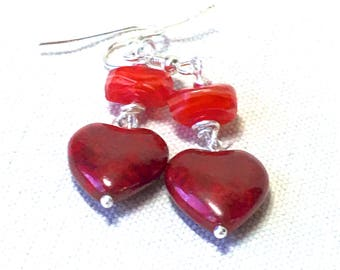 Red Heart Earrings, dangle Christmas earrings Czech glass heart drop earrings handmade Christmas jewelry for women Valentine's Day gift for