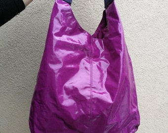 Vintage UNITED COLORS Of BENETTON Purple Colour Bag, Rare 80s Tote Back, Vintage United Colors Of Benetton Handbags