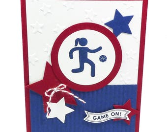 109-Basketball Female Happy Birthday Card, Way to Go, Champ!, Girl or Woman Athlete, Red, White & Blue Stars, Dribble, Player, Team, Court