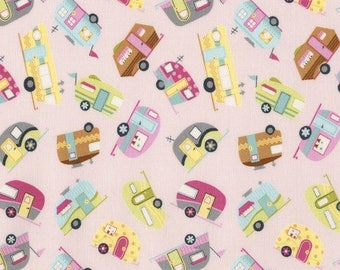 Vintage trailer fabric, Retro camper fabric, Fun, Motorhomes on Pink, Camping Fabric, by Timeless Treasures, C5417