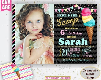 Ice cream birthday invitation / girl / pink / teal / gold / chalkboard / sweet invite / Ice cream cone / Scoop / Photo / photograph BDIC14