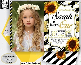 Sunflower Birthday Invitation / First Party Invite Fall Invitation Floral Girl 1st Flowers Gold Teal Black Burgundy glitter / One / SF3/4/5