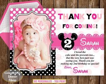 Thank you card favor bag Pink Black polka dots invite photo photograph THMM1