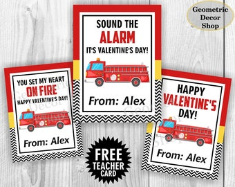 Fire truck / Valentine Card / Fireman Valentines Card / Valentine's Day / Personalized Valentine Tags / teacher / Kids Classroom VCard27