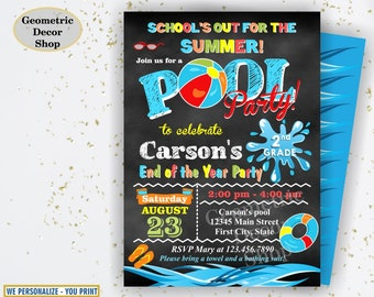 Graduation summer party Bash invitation end of the school year pool party invite chalkboard digital printable Boy Girl Teal BDP115