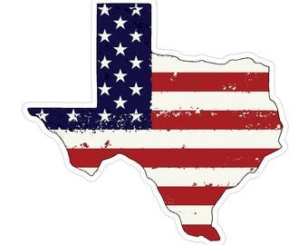 Texas State (J2) USA Flag Distressed Vinyl Decal Sticker Car/Truck Laptop/Netbook Window