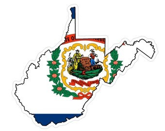 West Virginia State (Q48) Shape Flag Vinyl Decal Sticker Car/Truck Laptop/Netbook Window
