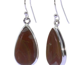 Mookaite Earrings, 925 Sterling Silver, Unique only 1 piece available! color brown, weight 5g, #37350