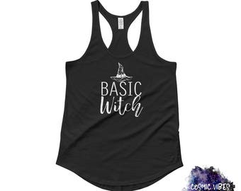 Basic Witch Women's Halloween Racerback Tank Top - Witch's Hat Shirt - Funny Halloween Holiday Shirt - Halloween Party Shirt