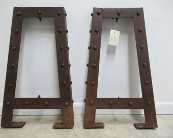 Pair of Industrial Steel Sofa Desk Table Console Legs Base