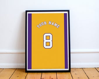 L.A Lakers Basketball - Customisable Name and Number Print.