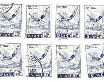 1955 Iceland Postage Stamps - Iceland National Sports-Diving- SG 331 -8 used ~5389