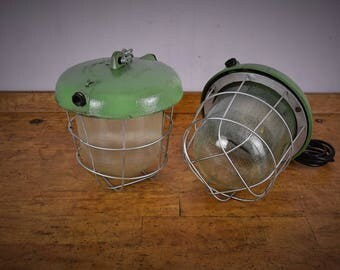 Industrial Polish Caged vintage industrial lamp green, factory lighting, pendant light, industrial lighting