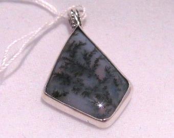 Montana Moss Agate free form diamond bezel set pendant sterling silver .925 handmade freeform bezel