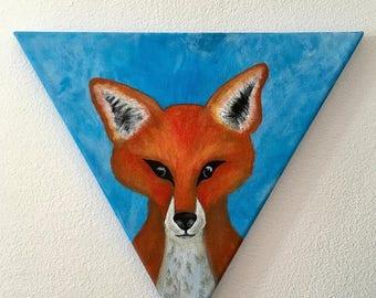 """""""Fox"""" Tableau peinture acrylique toile triangulaire"""