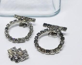 Vintage clear rhinestone shoe clips dress clips