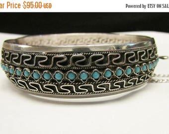 On Sale Vintage Estate Silver Bangle With Turquoise Bracelet Marked 1000